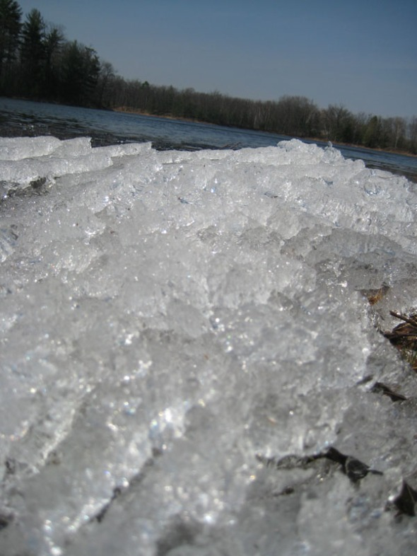 Ice Piled on the edge of Martel Lake the day of the thaw