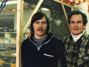 Dad visited me when I taught 5th grade. Picture in front of the finch aviary Sam Ross and I built in our double classroom
