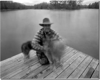 Earl Pinhole Portrait on Dock w Blurry Dogs